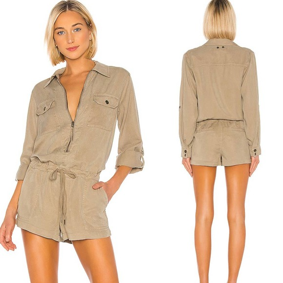 PAM AND GELA Lyocell Zip Front Utility Romper Sz S